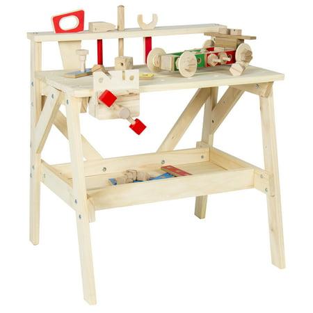 Kids Wood Work Bench Wooden Workshop Tool Storage