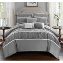 Penelope Pleated and Ruffled Comforter Set w/Sheets 10-Piece