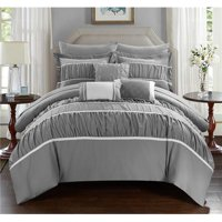 Penelope Pleated and Ruffled Comforter Set w/Sheets 10-Piece Queen Size (Multi Colors)