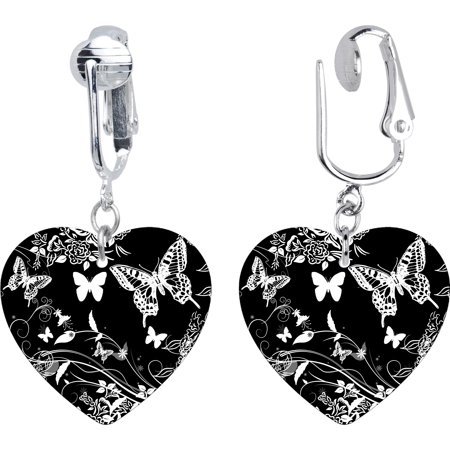 Handcrafted Heart BW Flight of the Butterfly Clip On Earrings Deco Style Clip Earrings