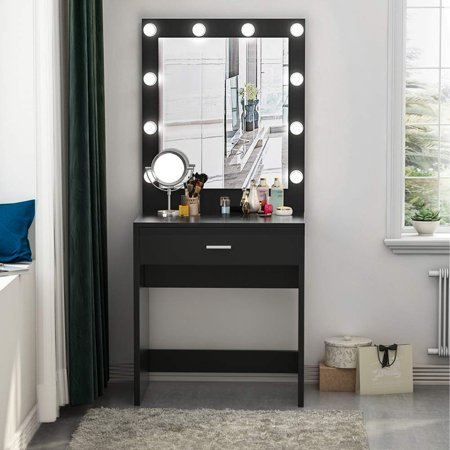 Tribesigns Vanity Set with Lighted Mirror, Makeup Vanity Dressing Table Dresser Desk for Bedroom, Black (10 Cool White LED - Vanity Dresser