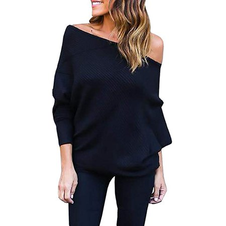 (Women's Off Shoulder Pullover Sweater Batwing Sleeve Loose Oversized Knit Jumper Tops)