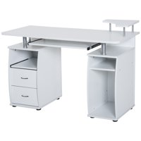 HOMCOM Home Office / Dorm Room Computer Desk with Keyboard Tray - White