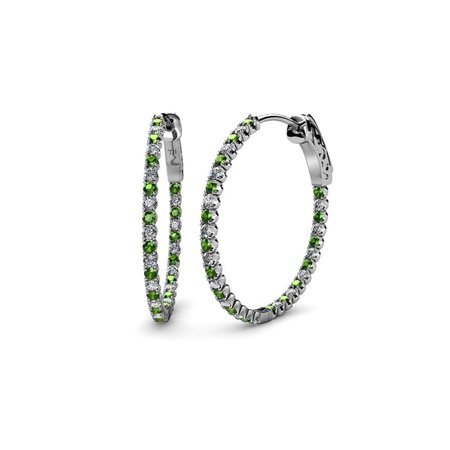 Green Garnet and Diamond (SI2-I1, G-H) Inside-Out Hoop Earrings 2.93 ct tw in 14K White Gold