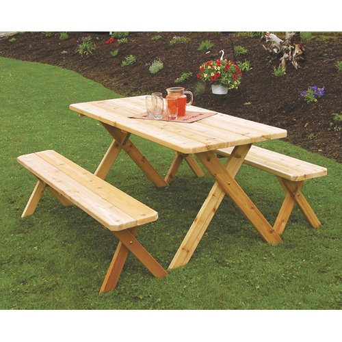 A & L Furniture Western Red Cedar Crossleg Picnic Table with 2 Benches