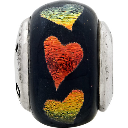 925 Sterling Silver Charm For Bracelet Orange/green Hearts Dichroic Glass Bead Glas Fine Jewelry Gifts For Women For Her - image 1 de 8