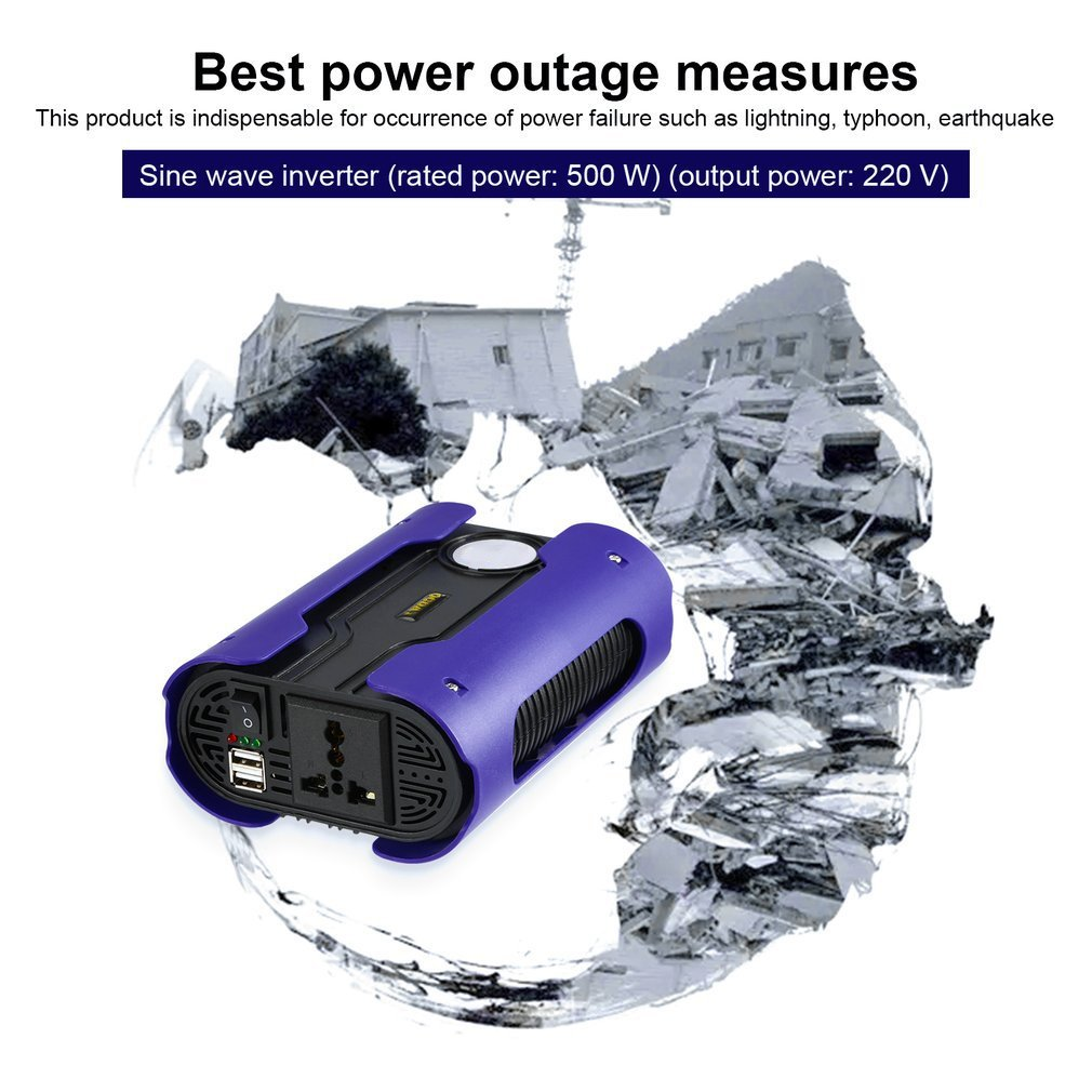 LESHP Blue 500W 12V to 110V 220V Pure Sine Wave Power Inverter