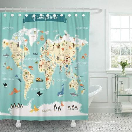 CYNLON Kids Children World Map Atlas Nursery Bathroom Decor Bath Shower Curtain 66x72 inch