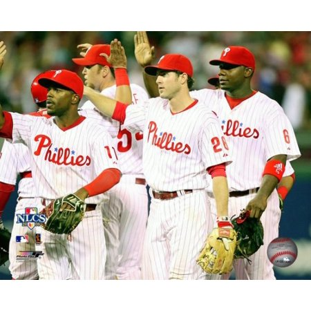 Jimmy Rollins Chase Utley & Ryan Howard 2008 NLCS Game 1 Celebration Photo Print