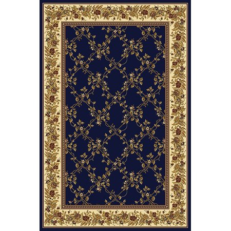 Vitaly Wharton Area Rugs - 1427 Traditional Oriental Navy Blue Floral Country Bordered Lattice Rug