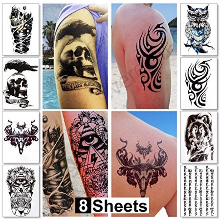 Large Temporary Tattoos for Guys for Men & Teens Fake Tattoo Stickers (8 Sheets) Biker Tattoos, Rocker Transfers for Arms Shoulders Chest & Back - Boys Tattoos Body Art Tattoo Sticker Waterproof