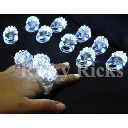 24 PCS Light-Up White Jelly Rings Flashing LED Frozen Snow Favors Blinking Bumpy](Flashing Led Necklace)