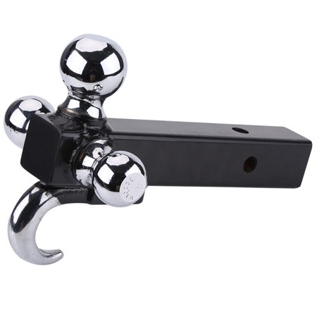 Triple Tri 3 Ball Trailer Hitch w/ Hook Receiver Mount Towing 1-7/8