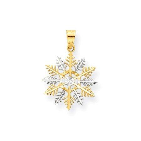 Rhodium Snowflake Pendant - 10K Yellow Gold & Rhodium Snowflake Pendant