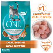Purina ONE High Protein, Natural Dry Cat Food, Ideal Weight With Turkey, 16 lb. Bag