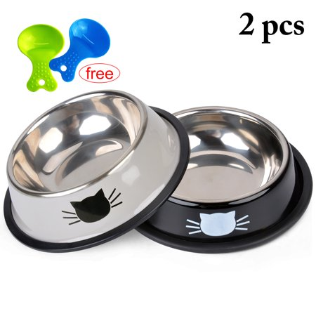2PCS Pet Bowl Stainless Steel Non-skid Rubber Base Small Cute Dog Cat Water Food Bowl with Free 2 Food Scoop
