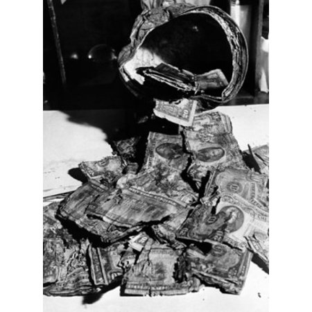 Damaged Dollar Bills At The Currency Redemption Center Us Treasury Department Canvas Art     18 X 24