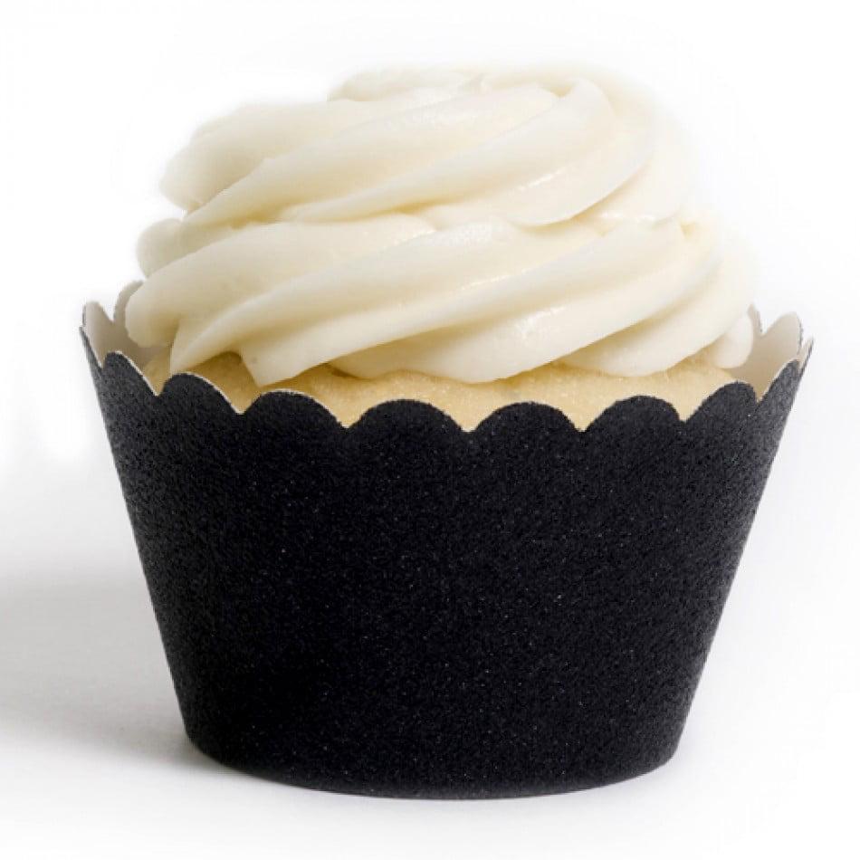 Dress My Cupcake Black Glitter Reusable Cupcake Wrappers, Set of 12