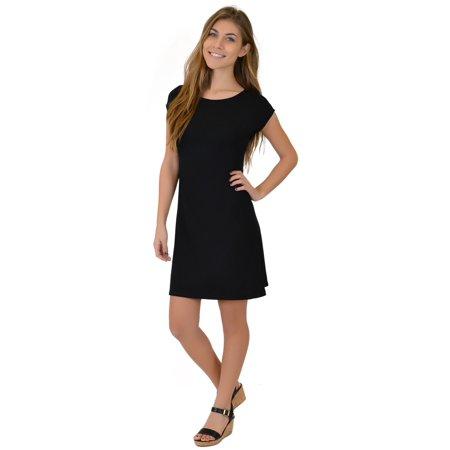 Women's Audrey Short Sleeve Boatneck Shift Dress - Small (0-2) / (Jersey Boatneck Dress)
