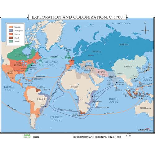 Universal Map World History Wall Maps - Exploration & Colonization 1700