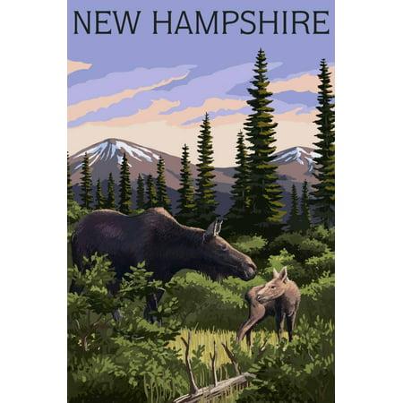 Moose Outdoor Wall - New Hampshire - Moose and Calf Print Wall Art By Lantern Press