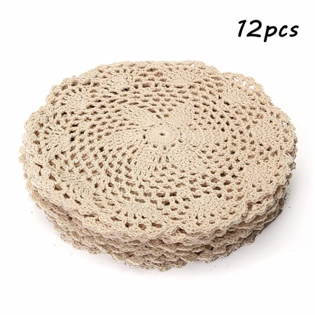 Meigar 12 Pack 8-inch Round Handmade Cotton Crochet Doilies,Ecru Round Crocheted Lace Cloth Fabric Doilies Placemats Table Mat Doily ,Value - Raffia Table Mats