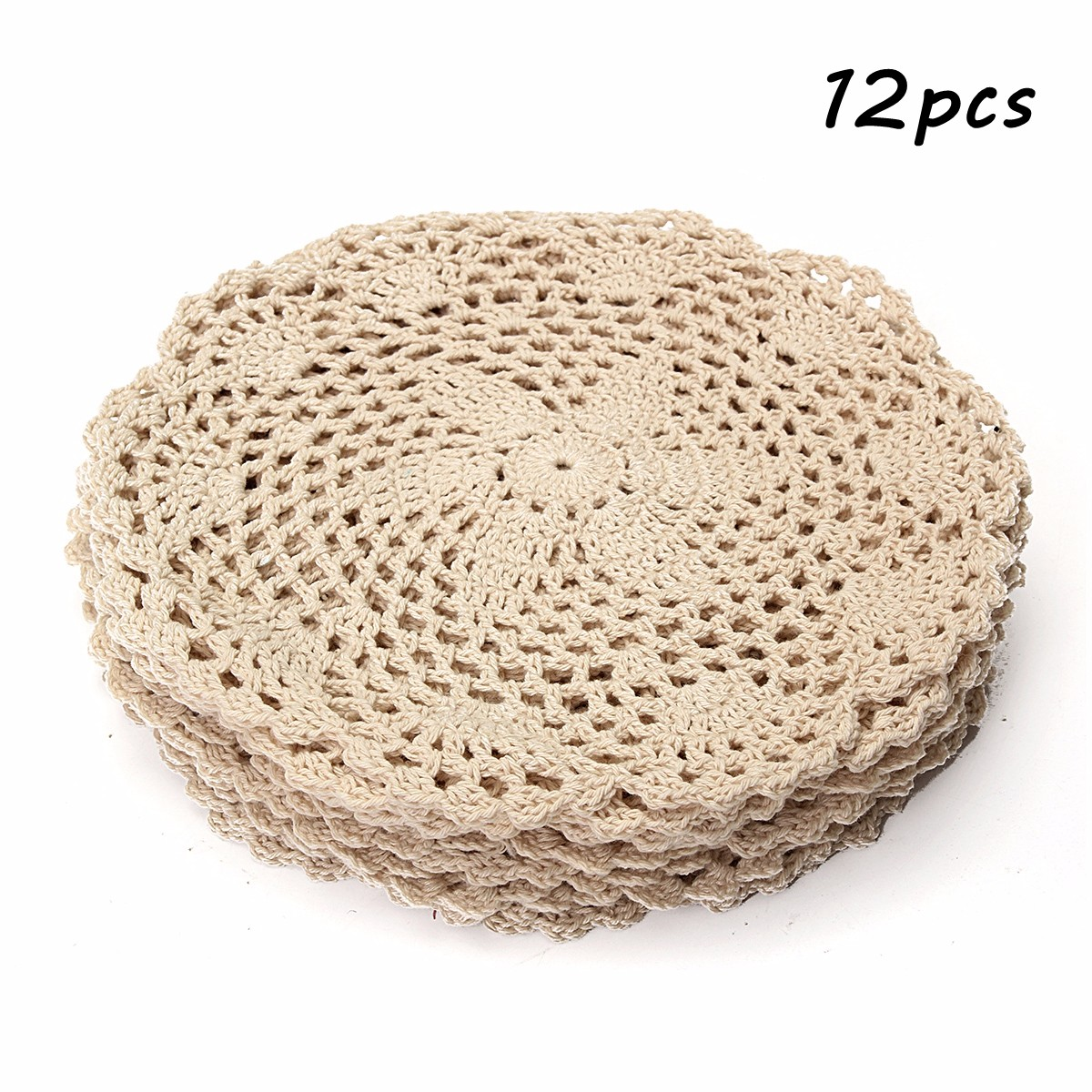 Meigar 12 Pack 8-inch Round Handmade Cotton Crochet Doilies,Ecru Round Crocheted Lace Cloth Fabric Doilies Placemats Table Mat Doily ,Value Pack