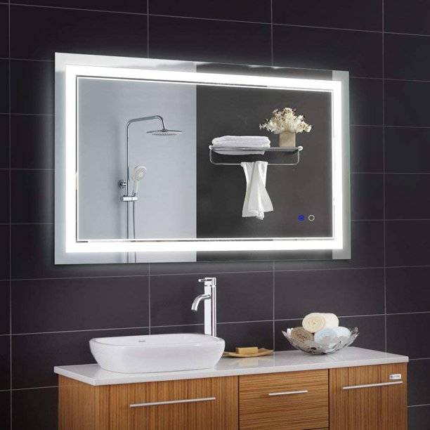 Keonjinn 40 X 24 Inch Bathroom Led Vanity Mirror Anti Fog Dimmable Large Wall Makeup Mirror With Light Horizontal Vertiacl Walmart Com Walmart Com
