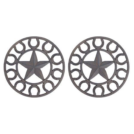 Set of 2 Distressed Finish Cast Iron Star and Horseshoe 10 Inch Table