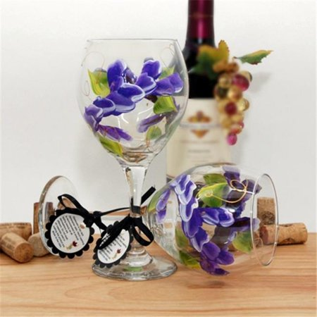 Floral Painted Glass - Judi Painted it WA-PP Floral Wrap Around Painted Wine Glass, Perfect Purple