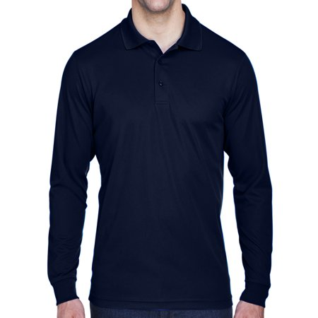Mens Moisture-Wicking Long Sleeve Polo Shirt - Navy, 5XL