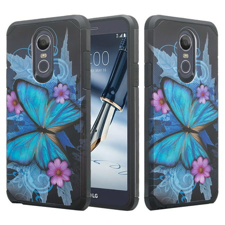 quality design 10283 99c62 Shock Proof Phone Case LG Stylo 4/Q Stylus/Stylus 4 Case Slim Hybrid Soft  Silicone Dual Layer Cute Girls Women Cover - Blue Butterfly