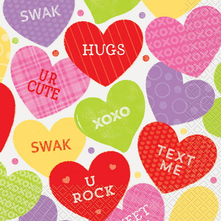 Candy Valentine's Day Luncheon Napkins, 6.5 in, 16ct - Valentine's Day Napkins