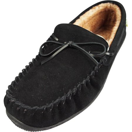 220b5e486f75ae Norty Mens Genuine Suede Leather Slippers with Lux Plush Fur Lining -  Leather Cowhide Suede Moccasin Slippers with Indoor/Outdoor soles - 30 Day  Guarantee