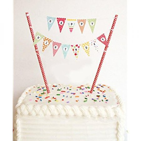 Happy Birthday Cake Bunting Banner Topper Garland