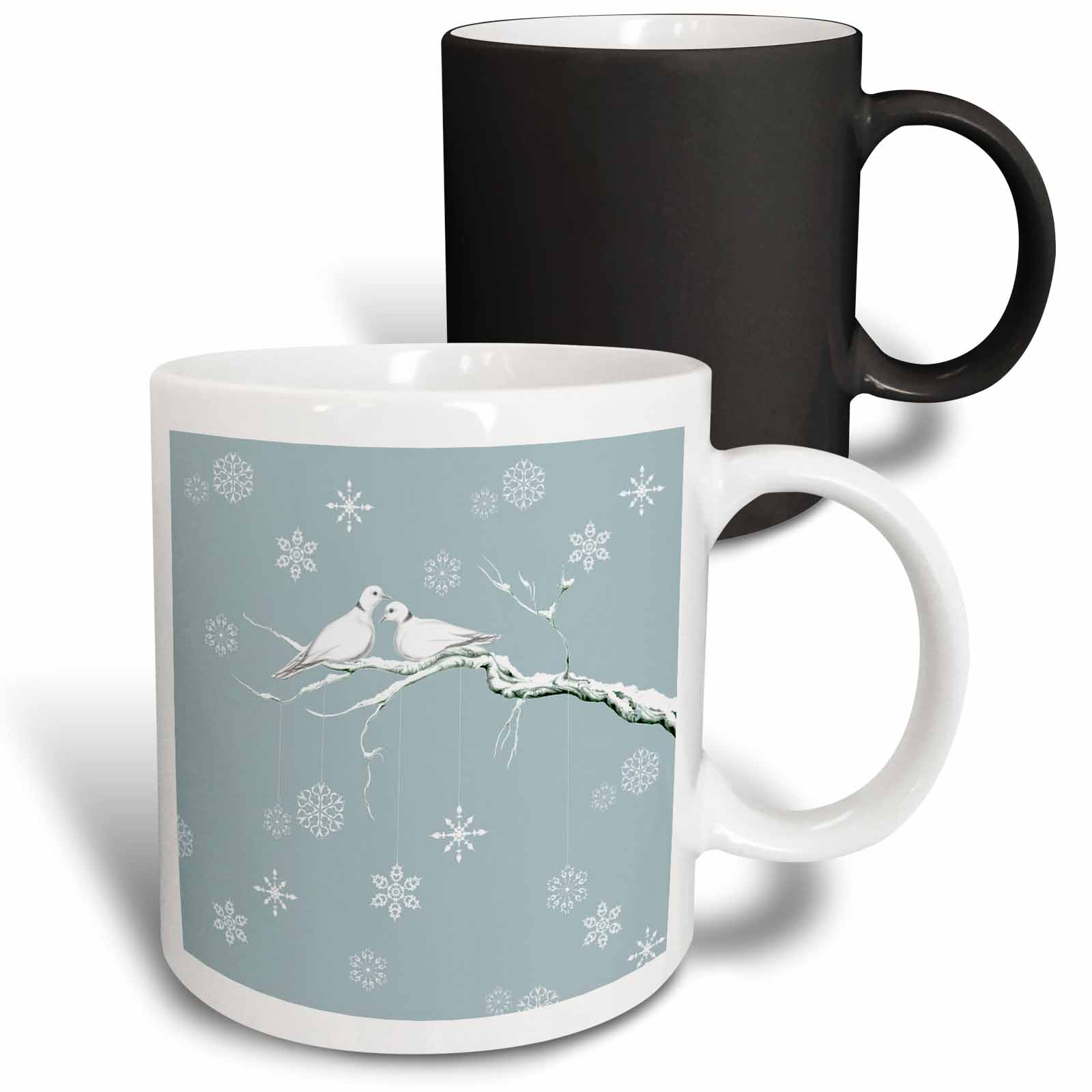 3dRose Two Turtle Doves and pretty snowflake ornaments at Christmas, Magic Transforming Mug, 11oz
