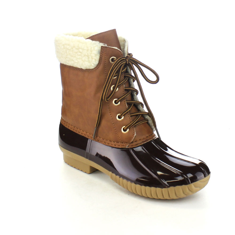YOKI SHOES AXNY DYLAN-3 Women's Two-tone Lace Up Ankle Rain Duck Boots