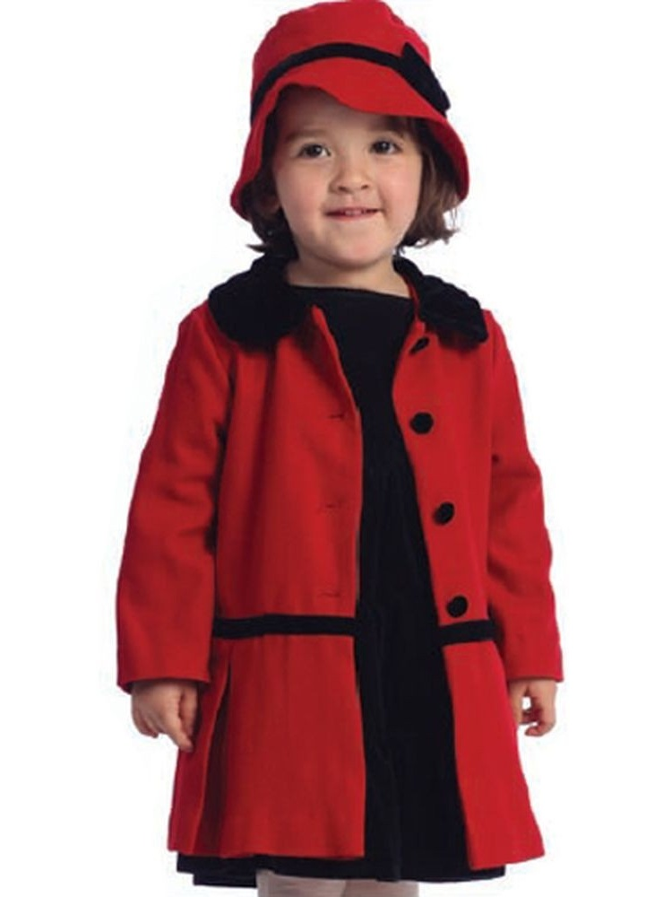Angles Garment Toddler Girls Size 2T Red Classic Coat Hat Set by Angels Garment