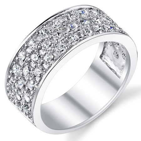 Sterling Silver Men's Wedding Band Engagement Ring With Cubic Zirconia CZ 9MM 3 Row Sizes 7 to 13 ()