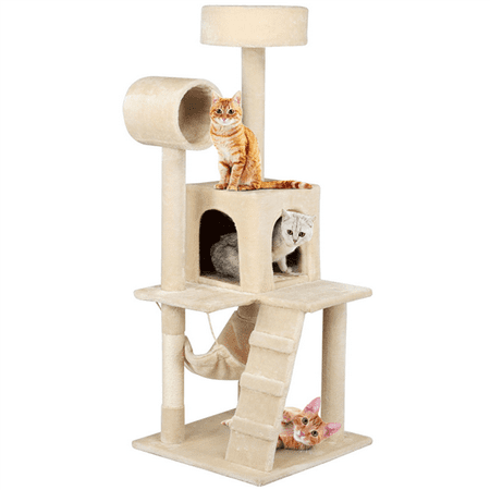 52 Inch Cat Tree for Kittens Multi-level Tower with Scratching Post and Hammock
