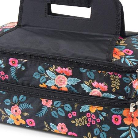 Zodaca Fashion Marion Floral Print Double Casserole Insulated Carrier Bag - image 3 de 4