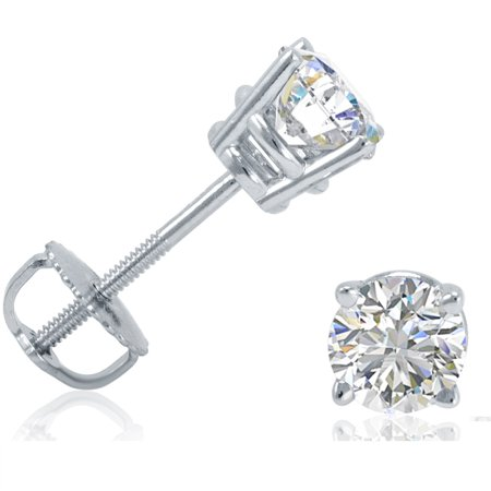 Igi Certified 3 4Ct Tw Diamond Stud Earrings In 14K White Gold With Screw Backs