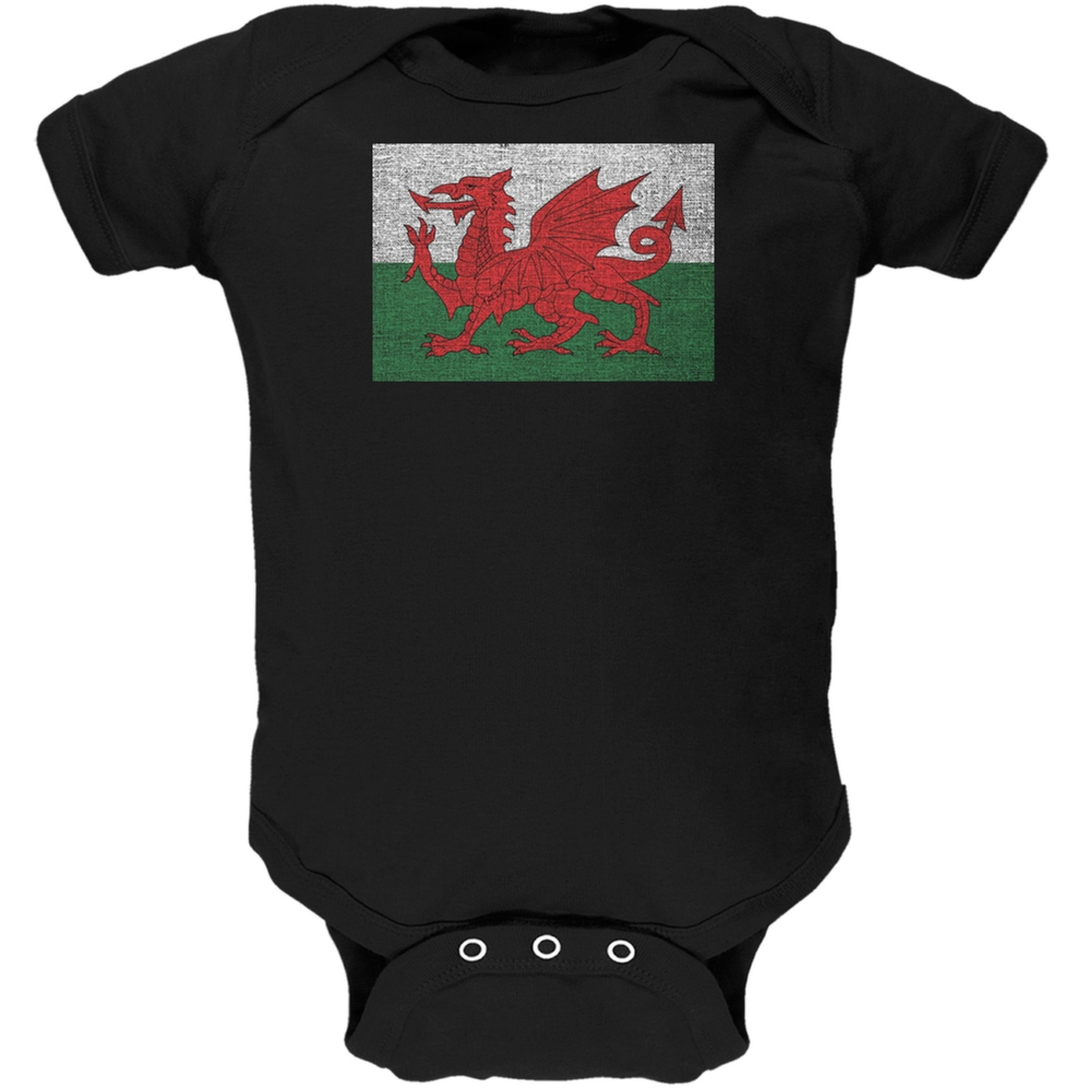 Welsh Flag Distressed Black Soft Baby One Piece