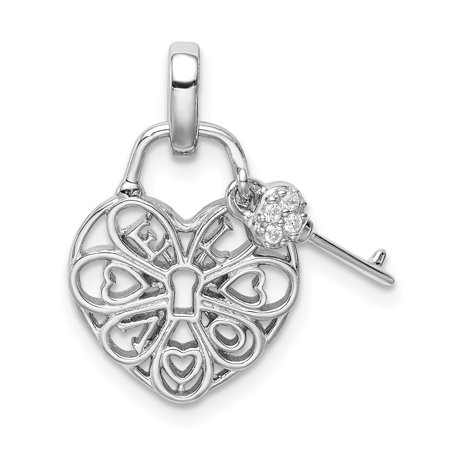 925 Sterling Silver Heart Lock Key Cubic Zirconia Cz Pendant Charm Necklace Love With Gifts For Women For Her