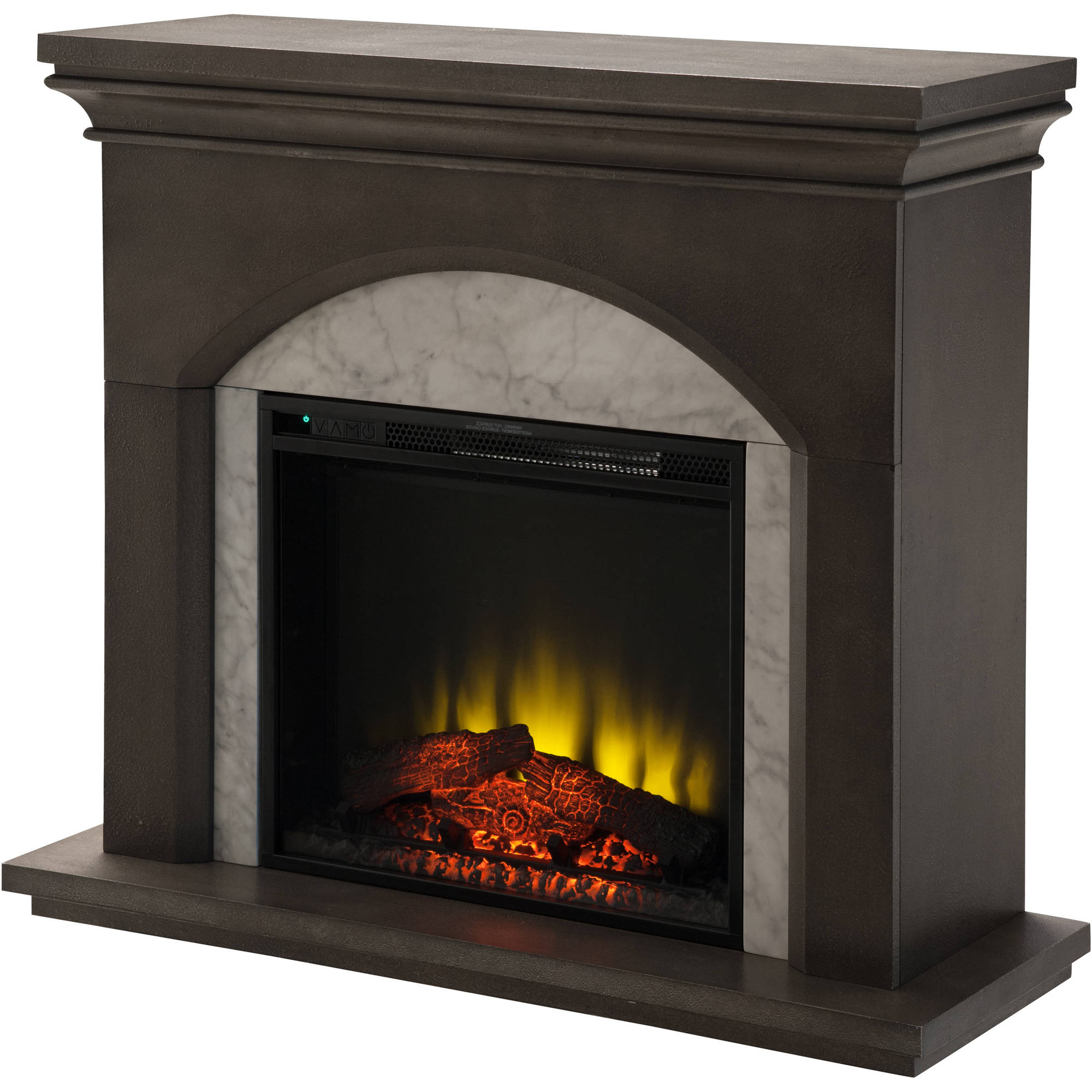 "Prokonian Electric Fireplace with 41"" Cool Gray Mantel"