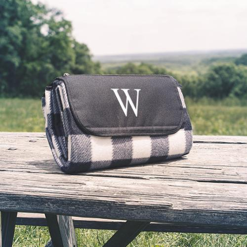 Personalized Black & White Plaid Tailgate Picnic Blanket A