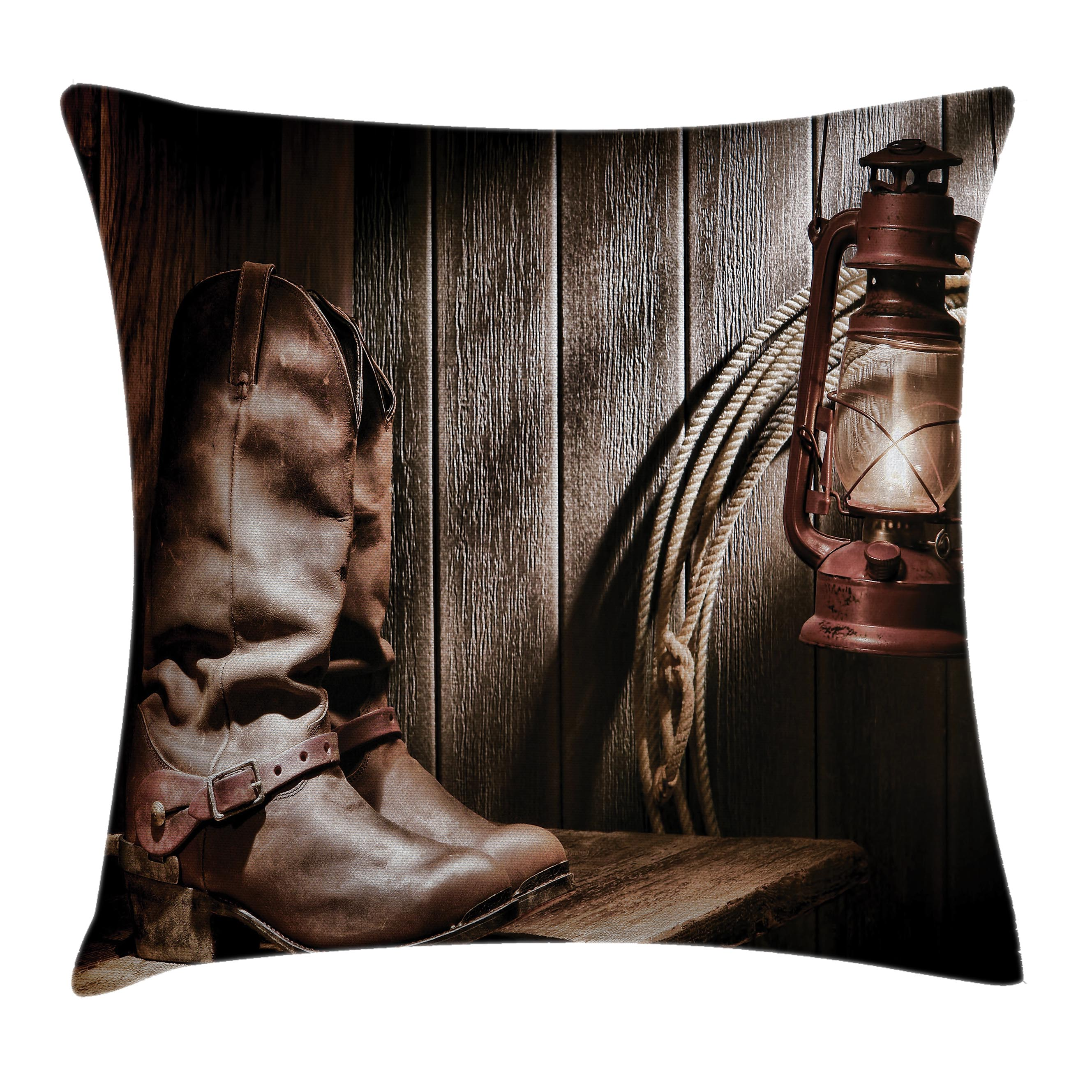 Western Decor Throw Pillow Cushion Cover, Dallas Cowboys and Lantern on a Bench in Vintage Ranch Nostalgic Folkloric Print, Decorative Square Accent Pillow Case, 16 X 16 Inches, Brown, by Ambesonne