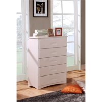 American Furniture Classics Model 0255, Solid Pine Five Drawer Chest in White