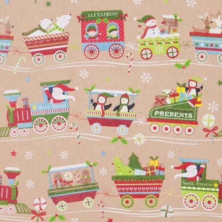 Jillson   Roberts Bulk Gift Wrap  Christmas Train  1 2 Ream 417 X 24
