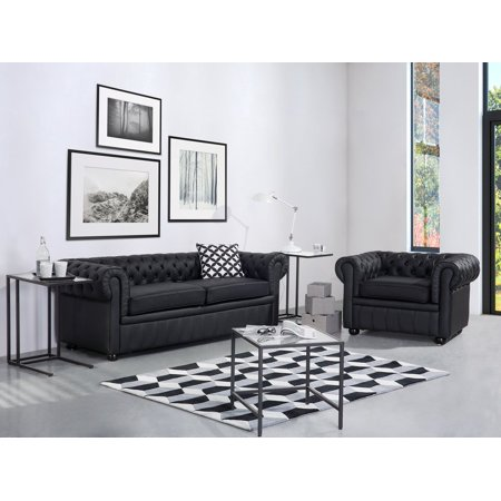 Traditional Style Genuine Leather Sofa Black Tufted 3-Seater Chesterfield